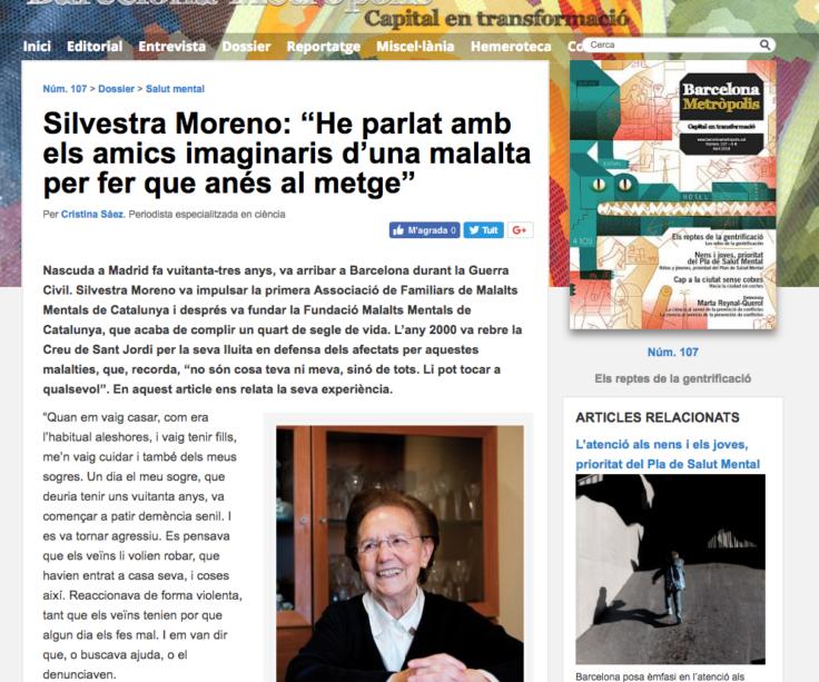 """Silvestra Moreno: """"Les malalties mentals no són cosa teva ni meva, sinó de tots. Li pot tocar a qualsevol"""""""
